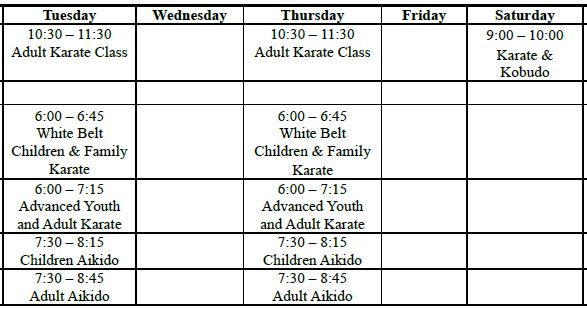 2018 Schedule of Classes